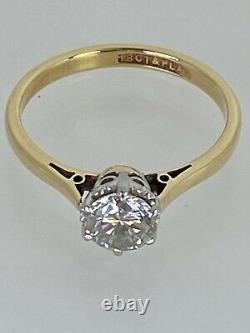 0.82 Carat Diamond Solitaire 18ct Gold & Platinum Certificate 3.2g Size N 1/2