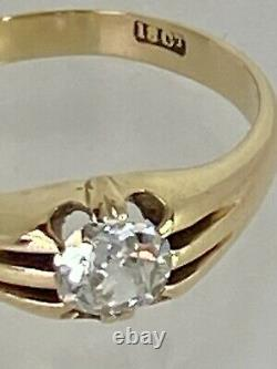 0.87 carat Diamond Solitaire 18ct Yellow Gold Gents Ring 7.3g Z +2 Certificate