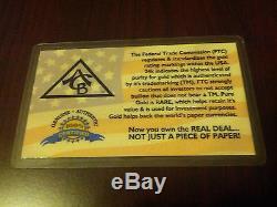(1000 Pack) 24k Solid Gold Bullion Acb 1grain Bars 9999 Fine + Certificate +