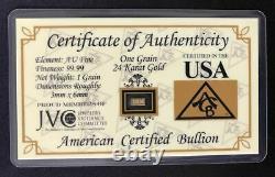 (1000 Pack) 24k Solid Gold Bullion Acb Minted 1grain Bars 9999 Fine Certificate