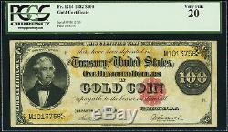 $100 1882 Gold Certificate Fr. 1214 PCGS Very Fine 20