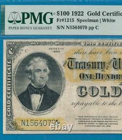 $100. Fr. 1215 1922 Gold Seal Gold Certificate Pmg Very Fine 25'no Comments