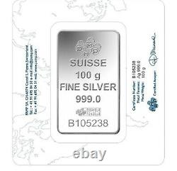 100 G. Fine Silver Bar 999.0 Pamp Swizrland With Certificate & Invoice