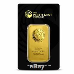 100 gram (3.215 oz). 9999 Fine Gold Bar Assay Certificate