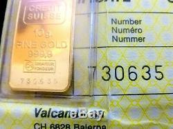 10.0 gm credit Suisse 999.9 gold sealed pouch with certificate SN730635