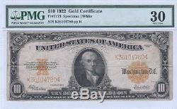 $10 Gold Certificate, 1922, FR1173, Speelman-White PMG Very Fine 30