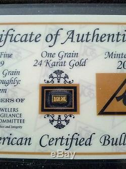 (10 Pack) Acb Gold 24k Solid Bullion Minted 1grain Bars 9999 Fine +certificate $