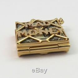 14K Gold 3D Mad Money Opening Purse Silver Certificate Charm Pendant 5.2gr