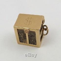 14K Gold 3D Mad Money Silver Certificate Charm Pendant 3.7 gr