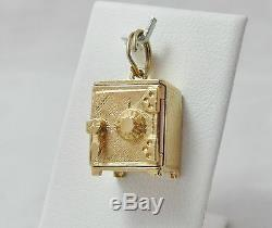 14K Gold 3D Vault Safe $1 Silver Certificate Inside Charm Pendant 6.1gr