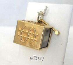 14K Gold Emergency With Hammer Money Silver Certificate Charm Pendant 3.8 Gr
