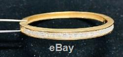 14k Solid Gold Natural White Diamonds Bangle Bracelet 25.55 grams with CERTIFICATE