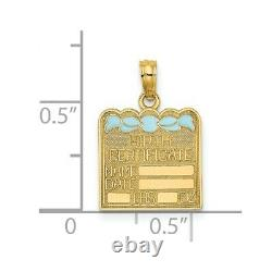 14k Yellow Gold Birth Certificate Blue Enamel Bow Pendant Charm Necklace
