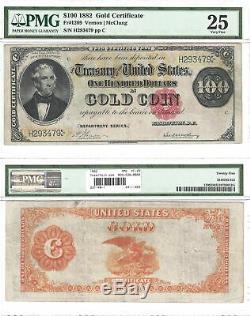 1882 $100 Gold Certificate Fr 1209 PMG Very Fine-25