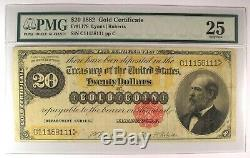 1882 $20 Gold Certificate FR-1178 Note Bill. Certified PMG 25 (Choice Very Fine)