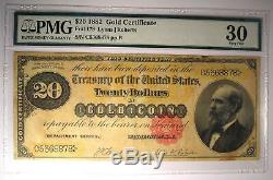 1882 $20 Gold Certificate FR-1178 Note Bill Certified PMG 30 (Very Fine)