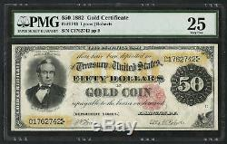 1882 $50 Fifty Dollar Gold Certificate Fr-1193 PMG 25 Very Fine