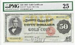 1882 $50'Large Size' Gold Certificate PMG 25 Very Fine (Minor Restoration)