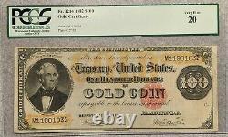 1882 PCGS $100 Gold Certificate Tehee/Burke FR 1214 Very Fine VF20 Problem-Free
