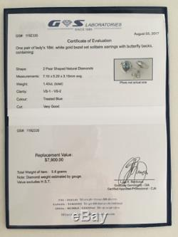 18K White Gold Bezel Set Solitaire Blue Diamond Stud Earrings with Certificate