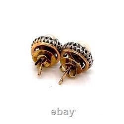 18K Yellow Gold Natural Pearl Diamond Earring Vintage with certificate
