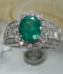 18k gold colombian Emerald 10x8 1.95ct 1.22ct F VS2 white diamonds certificate