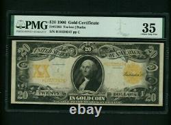 1906 $20 Gold Certificate Note Fr# 1186 PMG 35 Choice Very Fine