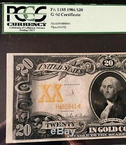 1906 $20 LARGE GOLD CERTIFICATE PCGS 35, VERY FINE, PLATE # A4/92 Fr1185