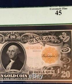 1906 $20 Large Gold Certificate Pcgs 45 Extremely Fine, Plate # D33/59, Fr1185