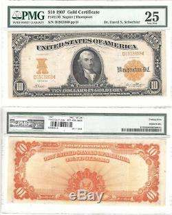 1907 $10 Gold Certificate Fr 1170 PMG Very Fine-25