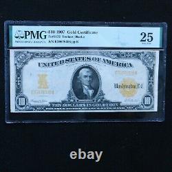 1907 $10 Gold Certificate, Fr # 1172, PMG 25 Very Fine (Teehee-Burke)