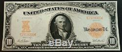 1907 $10 dollar large gold certificate Extra Fine XF to About Uncirculated AU