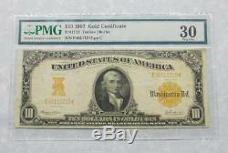 1907 PMG Very Fine 30 $10 Gold Certificate Large Note, VF30 $10 Gold Certificate