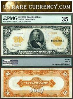 1913 $50 Gold Certificate FR-1198 PMG Graded Choice Very Fine 35