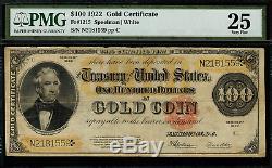 1922 $100 Gold Certificate FR-1215 Graded PMG 25 Very Fine