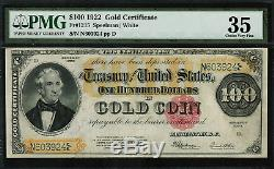 1922 $100 Gold Certificate FR-1215 Graded PMG 35 Comment Choice Very Fine