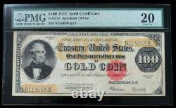1922 $100 Gold Certificate George Washington Note Fr. #1215 Pmg Very Fine 20
