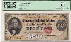 1922 $100 Usa, Gold Certificate, Very Rare, Pcgs Fine 15