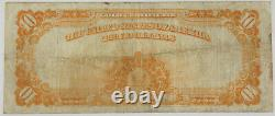 1922 $10 Dollar Gold Certificate Large Size Currency Bank Note F-1173 Fine+/VF