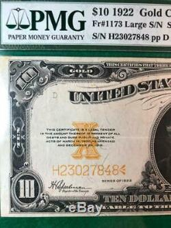 1922 $10 GOLD CERTIFICATE Fr #1173 PMG 35 CHOICE VERY FINE