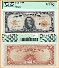 1922 $10 Gold Certificate Bank Note PCGS 25 PPQ Very Fine Ten Dollars Large-Size