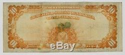 1922 $10 Gold Certificate Circulated Very Fine Stained & Hole In Portrait480