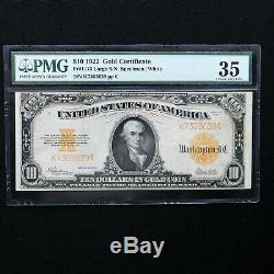 1922 $10 Gold Certificate, Fr # 1173, PMG 35 Choice Very Fine (Speelman-White)