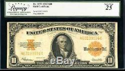 1922 $10 Gold Certificate Fr. 1173 Very Fine #H63199974