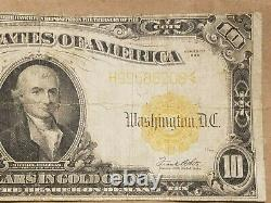 1922 $10 Gold Certificate Large Size Note Speelman White Fr 1173 VERY FINE VF