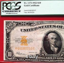 1922 $10 Gold Certificate PCGS Very Fine 30 PPQ Fr. 1173