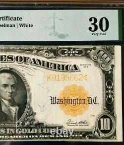 1922 $10 Gold Certificate Pmg30 Very Fine Large Sn K9195662 Speelman/white 3700