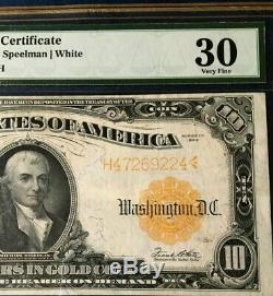 1922 $10 Gold Certificate Pmg30 Very Fine, Speelman/white Legal Tender, Must See