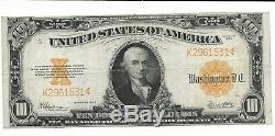 1922 $10 Gold Coin Certificate Very Fine FR. 1173 Hillegas Speelman White