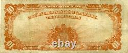 1922 $10 LARGE SIZE GOLD CERTIFICATE ROARING 20s GOLD NOTE CHOICE VERY FINE+